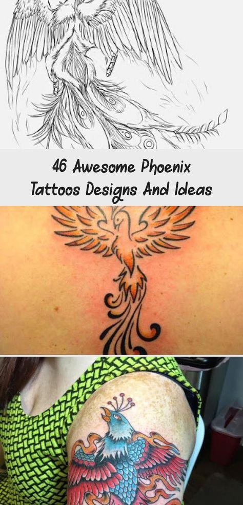 46 Awesome Phoenix Tattoos Designs And Ideas - Tattoos -  Phoenix tattoos #tattooideenDatum #Familientattooideen #Disneytattooideen #tattooideenBaum   - #awesome #designs #ideas #initialtattoo #phoenix #phoenixtattoo #prettytattoos #tattoos