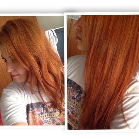 Red hair dyed with Indian henna: before and after | Dyed red ...
