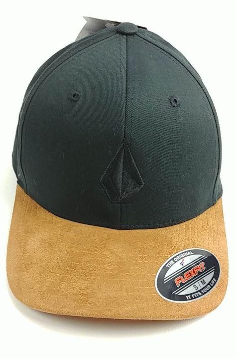 best website 7a1b0 fddf0 Volcom Mern s Full Stone Hthr Xfit Black Fitted Cap with Brown Visor Size  S M  Volcom  FullStoneHthrXfit