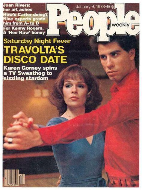 John Travolta and Karen Gorney in 'Saturday Night Fever,' People magazine, January 9, 1978.