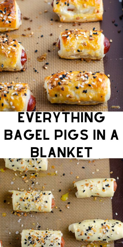 Easy Pigs In A Blanket Recipe - Cocktail sausages are wrapped in a flaky dough and given an extra punch of flavor with everything bagel seasoning. Finger Food Appetizers, Appetizers For Party, Appetizer Recipes, Tailgate Appetizers, Tailgating Recipes, Party Finger Foods, Snack Recipes, Football Party Foods, Football Food