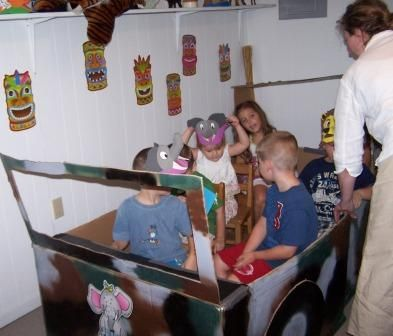 Jungle Safari VBS | This is a jungle car made from a refrigerator box. The kids loved it!
