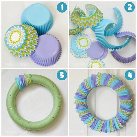 A simple craft using cupcake liners to make a bright, fun colored wreath! Use different colors and patterns for seasons, holidays, or celebrations!