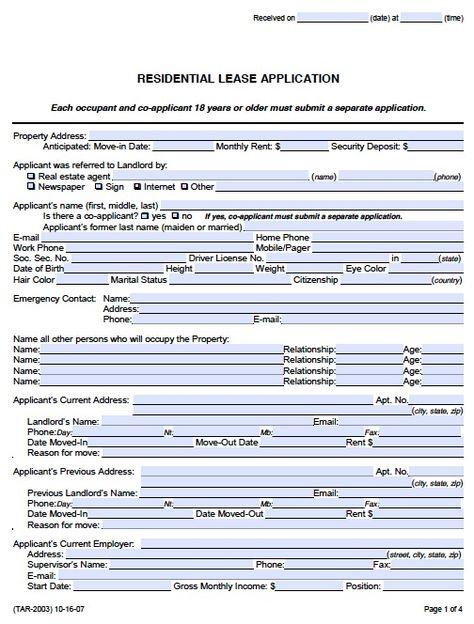 Rental Application Template legal form Pinterest Real estate - application for leave form