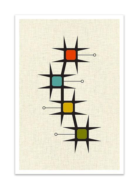 Mid Century Print Poster, Retro Art, Geometric Art, Geometric Print, Mid Century Modern Print, Modern Mid-Century Print