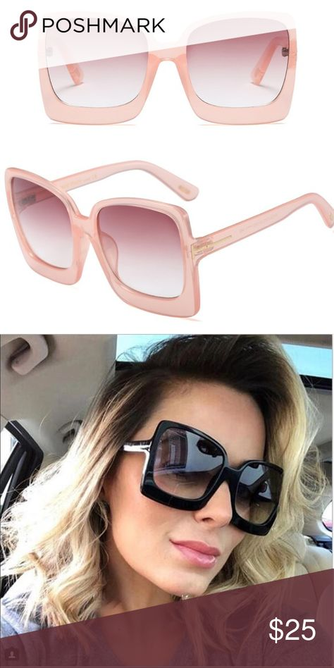 NEW Oversized Square Sunglasses NEW Oversized Square Sunglasses. Square, pink plastic frames, UV400 protection. Second image is to show fit only. Accessories Sunglasses
