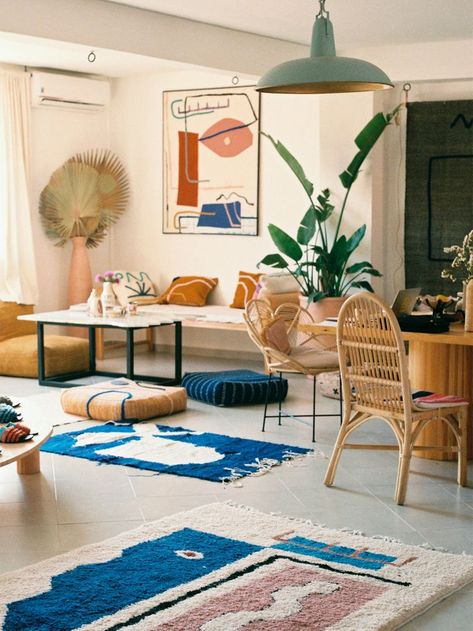 Colorful rugs and tapestry in Moroccan interior