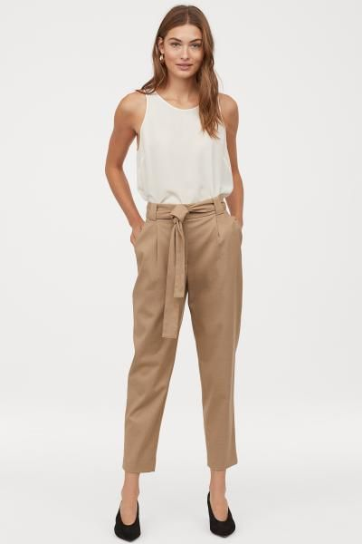 Knochelhose Beige Ladies H M De Pantalon Tobillero Pantalon Beige Mujer Pantalones