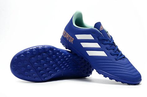 Best Selling Adidas Predator Tango 18 4 TF 2018 World Cup Royal Blue White  Mint Green Gold Mens Football Shoes Classic Sneakers 85a16ff6cf