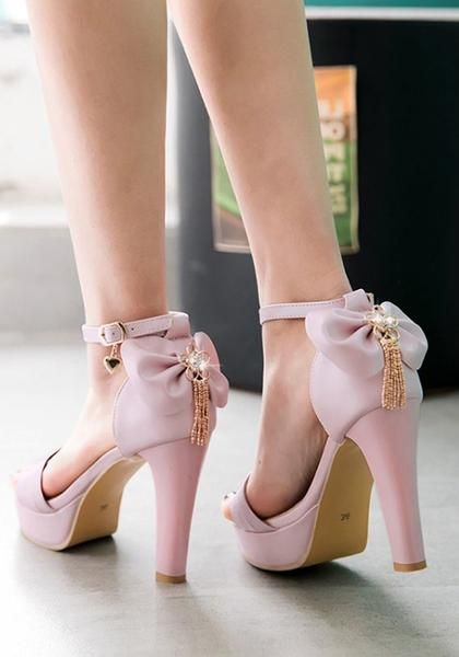 891d555fb4c Pink Round Toe Chunky Bow Fashion High-Heeled Sandals in 2019 ...