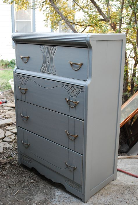 Art Deco Dresser C 1940 Refinished With A Flat Gray Paint Picked