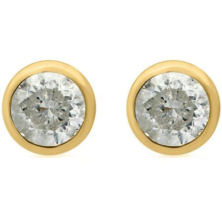 Jewelry Gift Boxes Walmart Pleasing 112 Carat Twround Diamond 14Kt Yellow Gold Bezel Stud Earrings Review