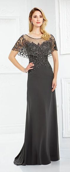 c479ab191e3 Chiffon slim A-line gown features an attached hand-beaded scalloped illusion  capelet creating short sleeves