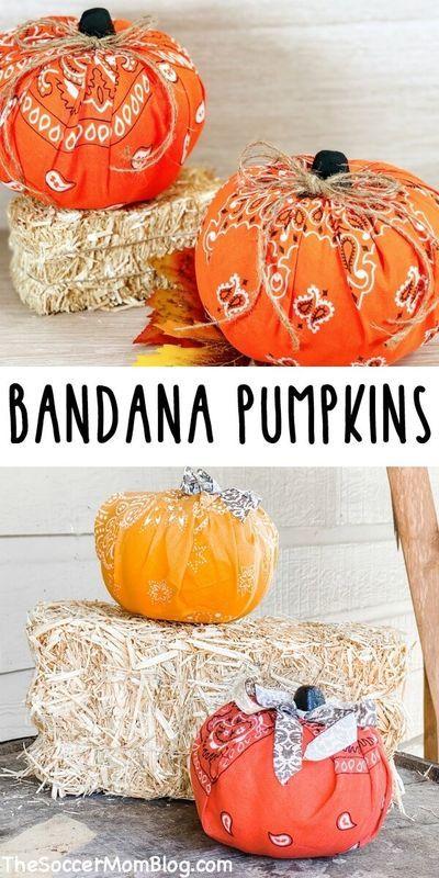 Easy Bandana Pumpkins Fall Crafts For Kids Fun Decor Halloween