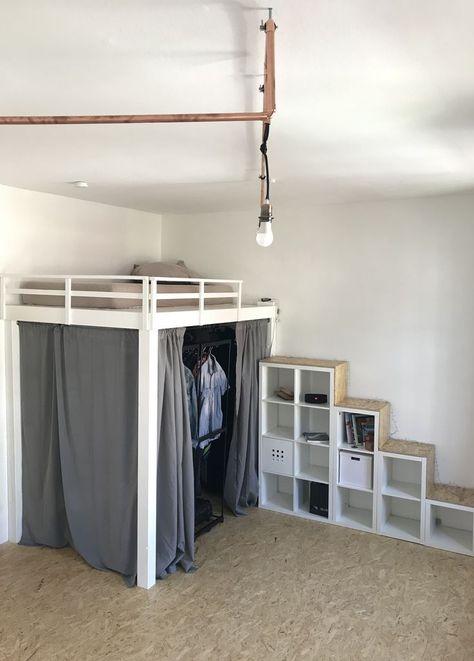 Diy Hochbett Kleiderschrank Treppe Von Ikea Kallax Hochbett