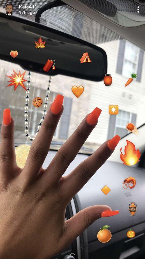 Bright Neon Vibrant Orange Acrylic Nails Brownskin Blackgirls Bright Acrylic Nails Orange Acrylic Nails Neon Acrylic Nails