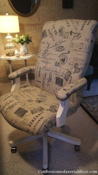 Reupholstered thrift store desk chair