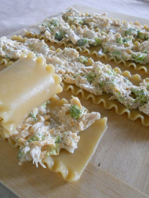 Sweet & Savory: Chicken Alfredo Lasagna Roll-ups Chicken Alfredo Lasagna Roll-ups {Print this Recipe!} 1 box lasagna noodles 3 c. cooked, shredded chicken {2 large chicken breasts} 2 c. finely chopped broccoli {I'm adding corn, and chopped carrots), 1 c. shredded cheddar 1 t. garlic powder 1 t. pepper 1 jar alfredo sauce 1/2 c. Parmesan cheese