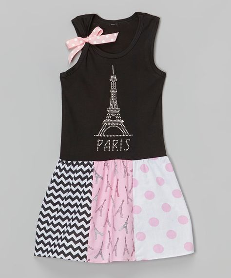 Look at this Beary Basics Black 'Paris' Tank Dress - Toddler & Girls on #zulily today!