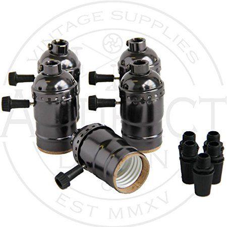 Set of 5 Metal Shell Nickel Black Medium Base Vintage Light Socket Lamp Holder