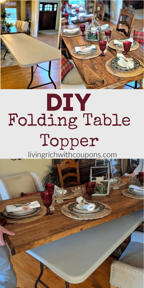 Cover up your folding table with my DIY folding table topper. This DIY is perfect for holiday gatherings, graduation parties and really any celebration. See how to create one here! Diy Wood Projects, Furniture Projects, Home Projects, Diy Furniture, Woodworking Projects, Patio Furniture Makeover, Woodworking Plans, Furniture Design, Wood Folding Table