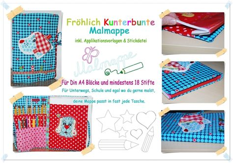Ebook ♥ Fröhlich bunte Malmappe ♥♥ Nähanleitung von ...