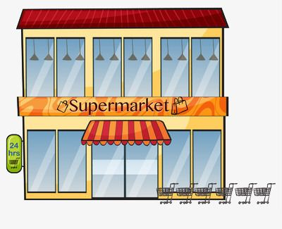 Cartoon Version Of The Two Story Supermarket Convenience Store Png And Clipart