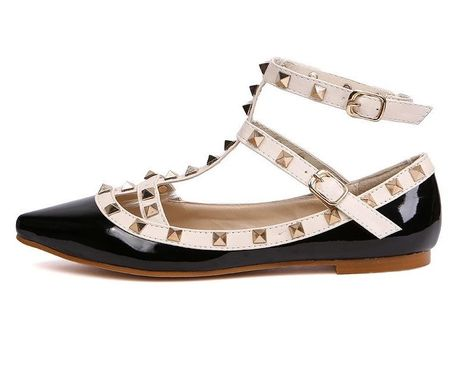 Womens Urban Edgy Studded Ankle Flats | shopaholic | Pointed