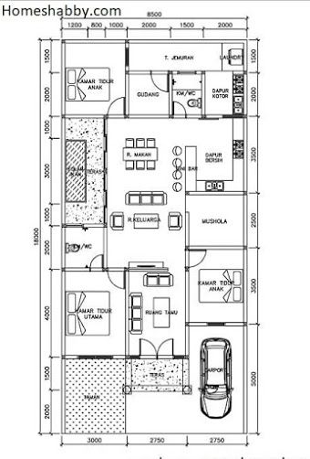 rumah ukuran 8x20 3 kamar tidur