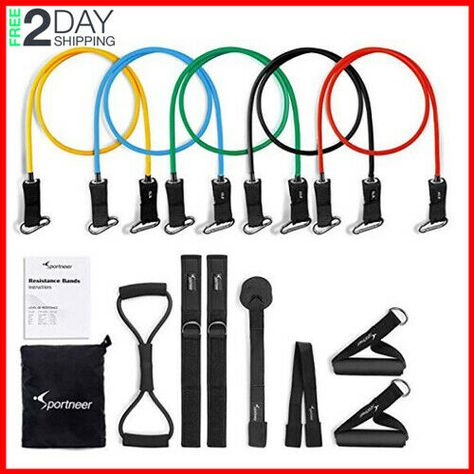 Ad(eBay) Resistance Tubes Bands Workout Exercise Fitness Train Loop Set Elastic Stretch
