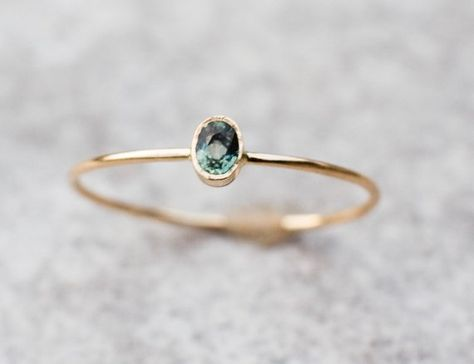 Tiny Green Sapphire Ring, Gold Sapphire Ring, Oval Sapphire Ring With Heart, Valentine's Gift For Girlfriend