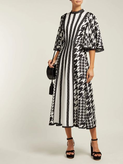 Houndstooth-print silk and lace midi dress | Andrew Gn | MATCHESFASHION.COM