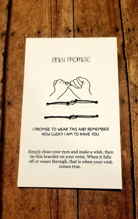 Sweet sentiment for a sweet couple or friends. Can be customized to read anything you like. Can also be used as anklet Card reads: Simply close your eyes and make a wish, then tie this bracelet on your wrist. When it falls off or wears through, that is when your wish comes true.