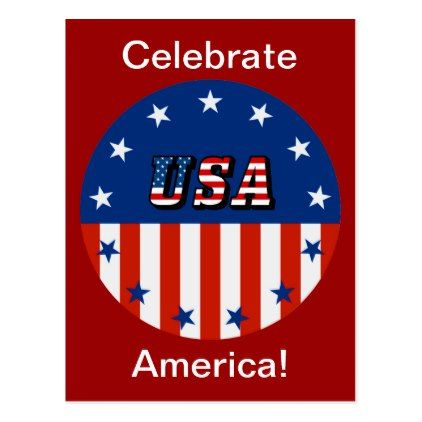 Usa American Flag And Stars In Circle Zssg Postcard Zazzle Com American Flag Postcard Postcard Size