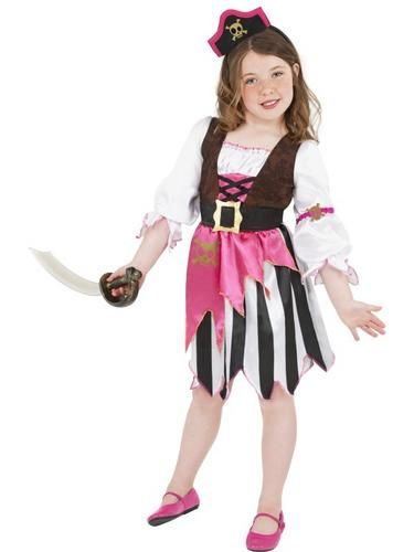 Child Perfect Pirate Girl Costume Pink Book Week Day Fancy Dress Outfit Kids
