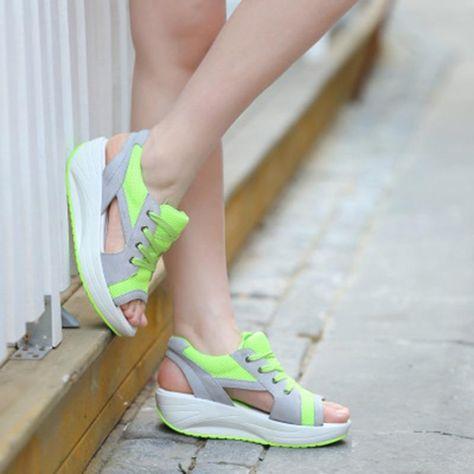 New Women Sandals Ladies Summer Sports Sandals Breathable Lace Platform Sandal