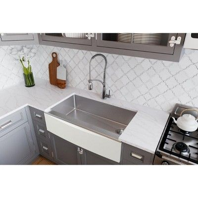 The Elkay Ctxacp Crosstown Stainless Steel Farmhouse Sink Is An