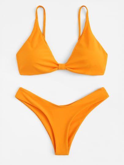 Top Con Tira Spaghetti Con Bikini Cortado Alto Bikini Naranja