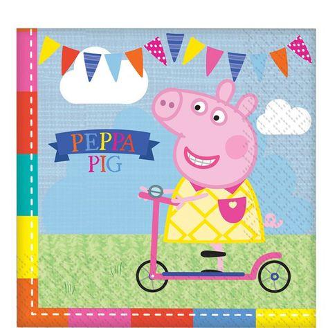 Peppa Pig Napkins Paper Napkins Party Supplies Party Tableware Pack Of 16 Peppa Pig Party Pig Party Peppa Pig Birthday