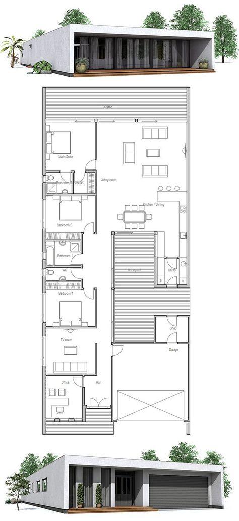 Contemporary House Design to narrow lot.