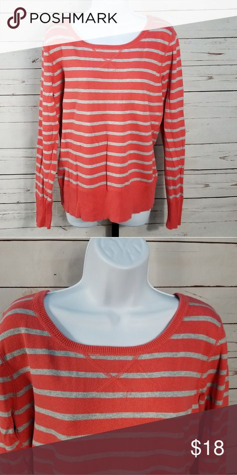 Sonoma Coral and Gray Long Sleeve Large Never worn 100% cotton  Pit to pit is about 19 1/2 inches Top to bottom is about 26 inches Sleeve is about 26 1/2 inches without cuffing it. About 22 1/2 inches if you want to cuff it Sonoma Tops
