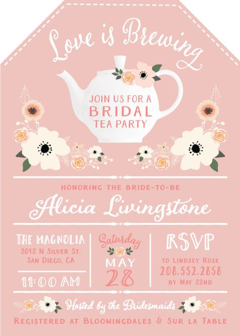 These unique tea bag shaped bridal shower invitations are designed to ready your guests for the perfect bridal shower tea party! We customize each invitation design to best accommodate your information while maintaining the most pleasing formatting possible. Personalize your event
