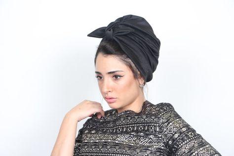 on sale free shipping black knit turban by RonaHandmadeTurbans