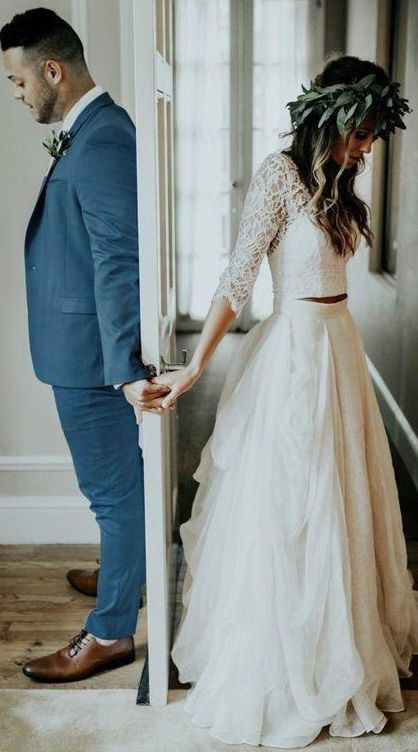 Sheer Neck Long Sleeves Ivory Wedding Dress With Lace Ivory Wedding Dress Wedding Dresses Wedding Dresses Lace