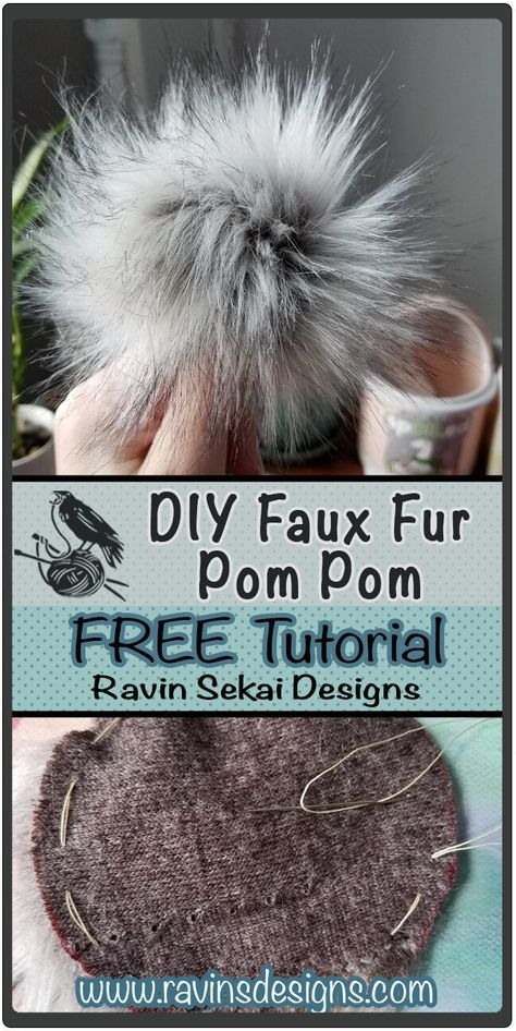 How to make your own Faux Fur bobbles so you can make them as big or small as you want! the colors you can make! Baby Pom Pom Hat, Pom Dog, Sewing Hacks, Sewing Tutorials, Sewing Crafts, Dyi Crafts, Sewing Projects, Pom Pom Crafts, Pom Pom Diy