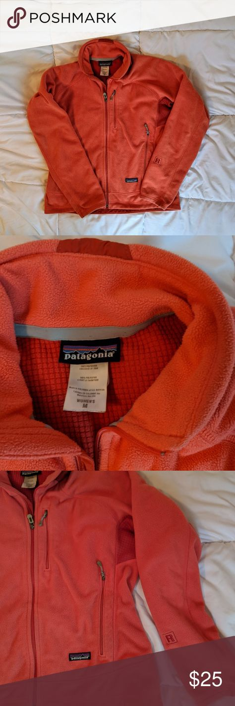 "Patagonia windblock fleece jacket size M Patagonia windblock fleece jacket, size M in GUC.  The color is called ""pickled ginger"" which is a pretty accurate description- it's an orangey-pink.  This is an older style, probably most similar to current R2 jackets.  It's lined with R1 polartec power grid so is warmer and more windblock than the synchilla.  Some wear at cuffs and piling as shown but overall, good conditon, all zippers working well.  Pet free, smoke free home. Patagonia Jackets & Coats"
