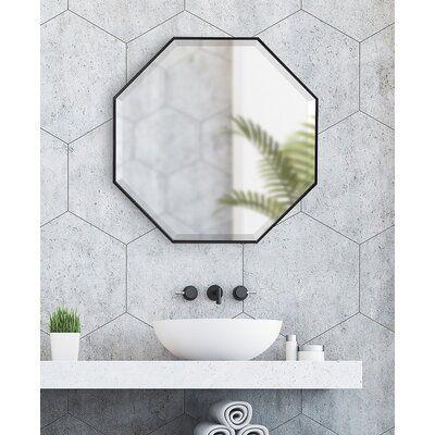 Bathroom Vanity Mirror Octagon, Herman Modern Contemporary Beveled Bathroom Vanity Mirror