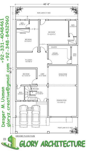 40x80 House Plan 10 Marla House Plan 12 Marla House Plan 10 Marla House Plan House Map Free House Plans