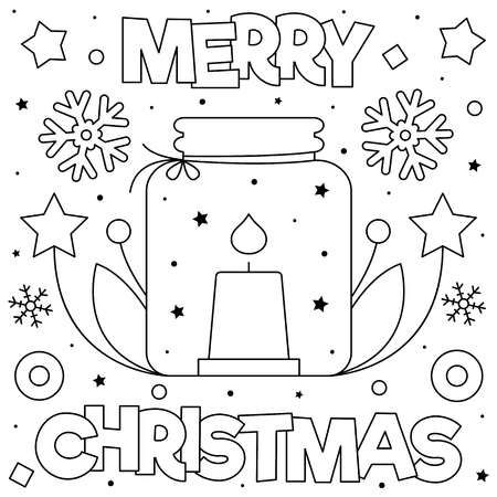 Merry Christmas Coloring Page Black And White Vector Illustration Merry Christmas Coloring Pages Christmas Coloring Pages Coloring Pages