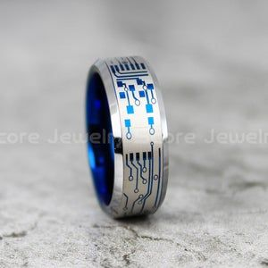 FREE SHIPPING FREE Custom Engraving Black Tungsten Band with Blue Step Edge Circuit Board Pattern Ring 8mm Black Tungsten Wedding Ring